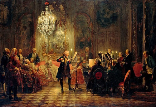 Frederick the Great in flute concert by Adolph Menzel