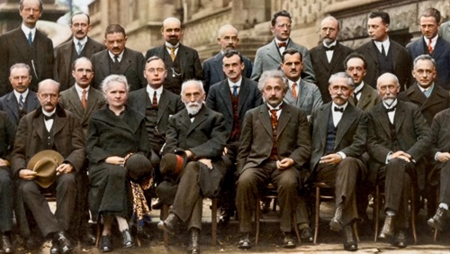 Marie Curie, Albert Einstein, Wolfgang Pauli, Werner Heisenberg and other physicists