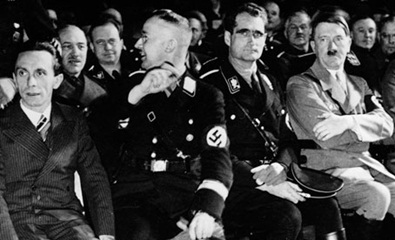 Hitler with Goebbels, Himmler and Hess