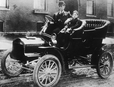 Henry Ford in the Model T car