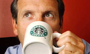 Howard Schultz drinking coffee
